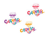 Welcome to Carnival 2019. A set of three bright multicolored Carnival logos in three languages, English, Spanish and Portuguese. Logo in Carnival, Carnaval.  Vector handwritten logo with masks.