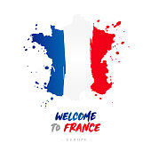 Welcome to France. Europe. Flag and map of the country of France from brush strokes.'nLettering. Vector illustration on white background.'n