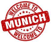 welcome to Munich red round vintage stamp