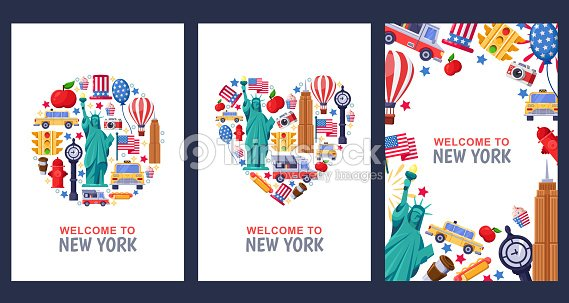 Template Or Usa Stock Illustration Design Travel Poster Flat York - Vector New Thinkstock Print Greeting Cards Souvenir Welcome To