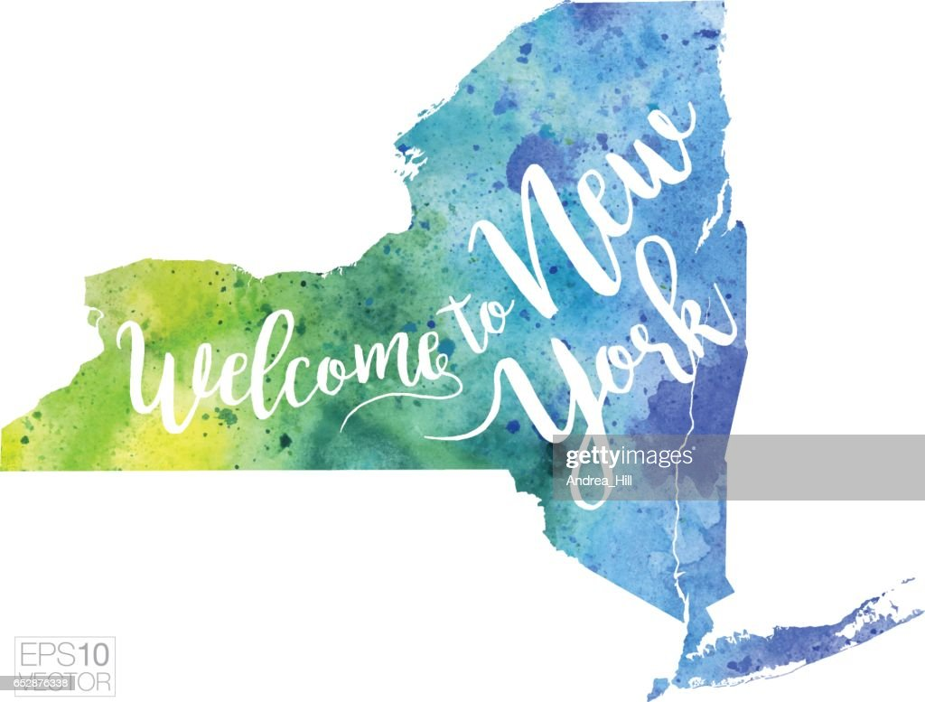 Welcome to New York Vector Watercolor Map : Clipart vectoriel