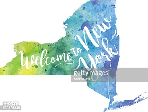 Welcome to New York Vector Watercolor Map : Vektorgrafik