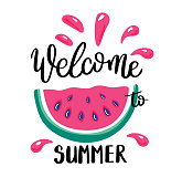 Welcome to Summer letting handwriting quote and watermelon. Emotional print with watermelon hand writing quote. Vector illustration with slices of watermelons.