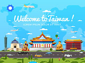 Welcome to Taiwan poster with famous attractions vector illustration. Travel design with asian statue, ancient temple and monument. Worldwide traveling, taiwan landmark, time to travel concept.