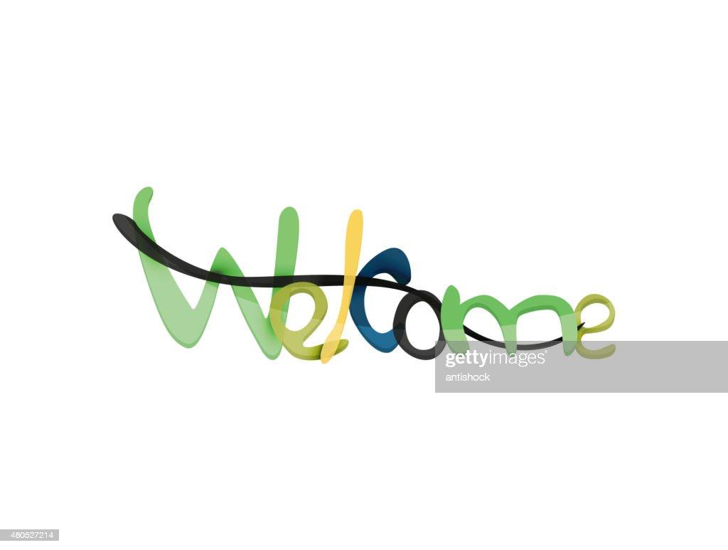 Welcome Wort, drawn Schriftzug Typografische Elemente : Vektorgrafik