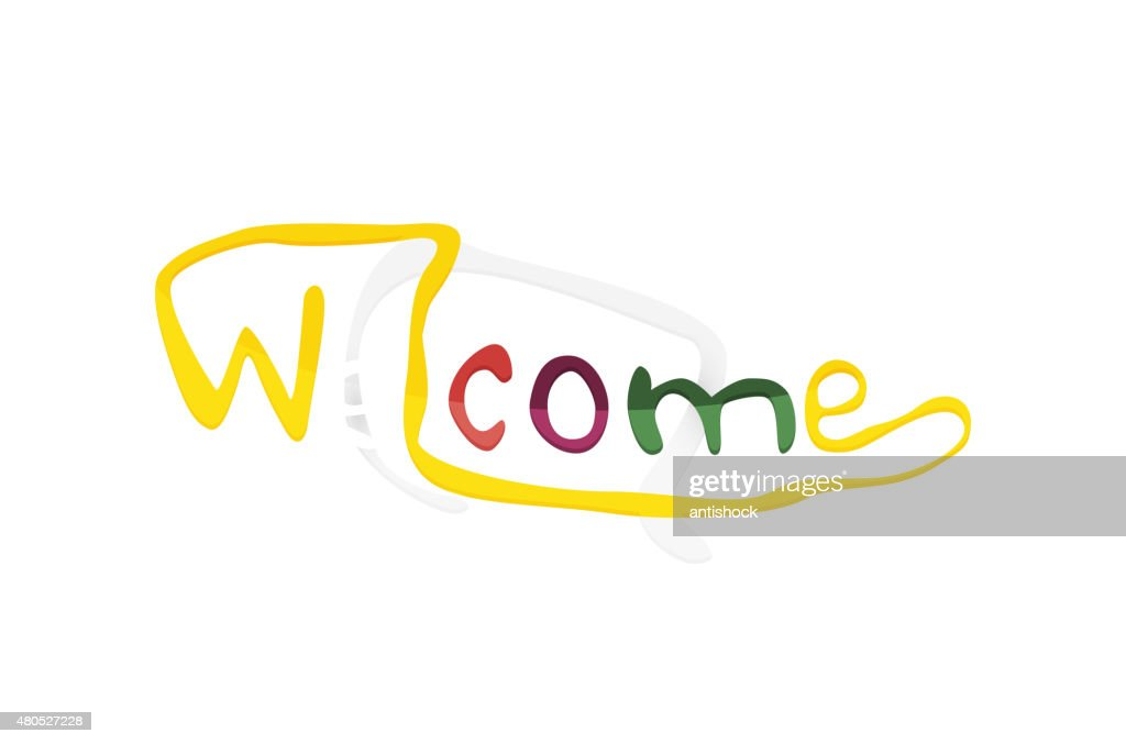 Welcome word, drawn lettering typographic element : Vector Art