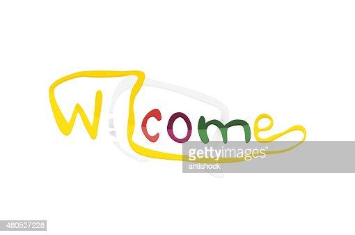 Welcome word, drawn lettering typographic element : Vektorgrafik