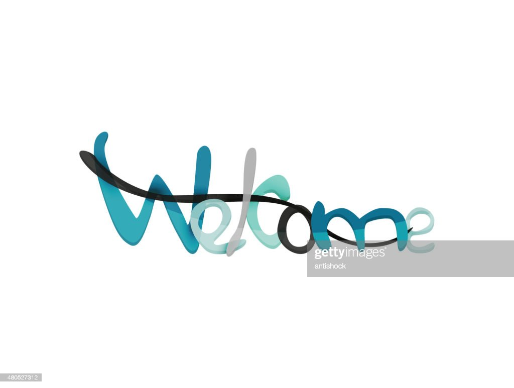 Welcome word, drawn lettering typographic element : Vectorkunst