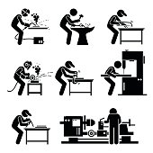 Set of vector stick man pictogram representing the metalworking industry with worker using various tools, equipment, and machine to modify iron and steel.