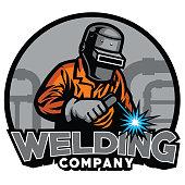 vector of welder working with weld helmet in badge design style