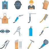 Welding icons in a flat style. Vector set of equipment and tools for the welder. Protective equipment during welding isolated on white background.