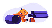 Welding Man Steel Piping in Industrial Automotive Factory. Metal Industry Worker in Protection Mask and Uniform Welding Steel or Iron Pipe. Metallurgy Processing. Cartoon Flat Vector Illustration