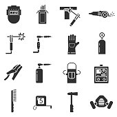 Welding, monochrome icons set. tools and equipment. isolated vector illustrations.