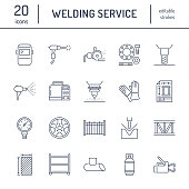 Welding services flat line icons. Rolled metal products, steelwork, stainless steel laser cutting, fabrication, turning works, safety equipment, powder coating. Industry thin sign for welder services.