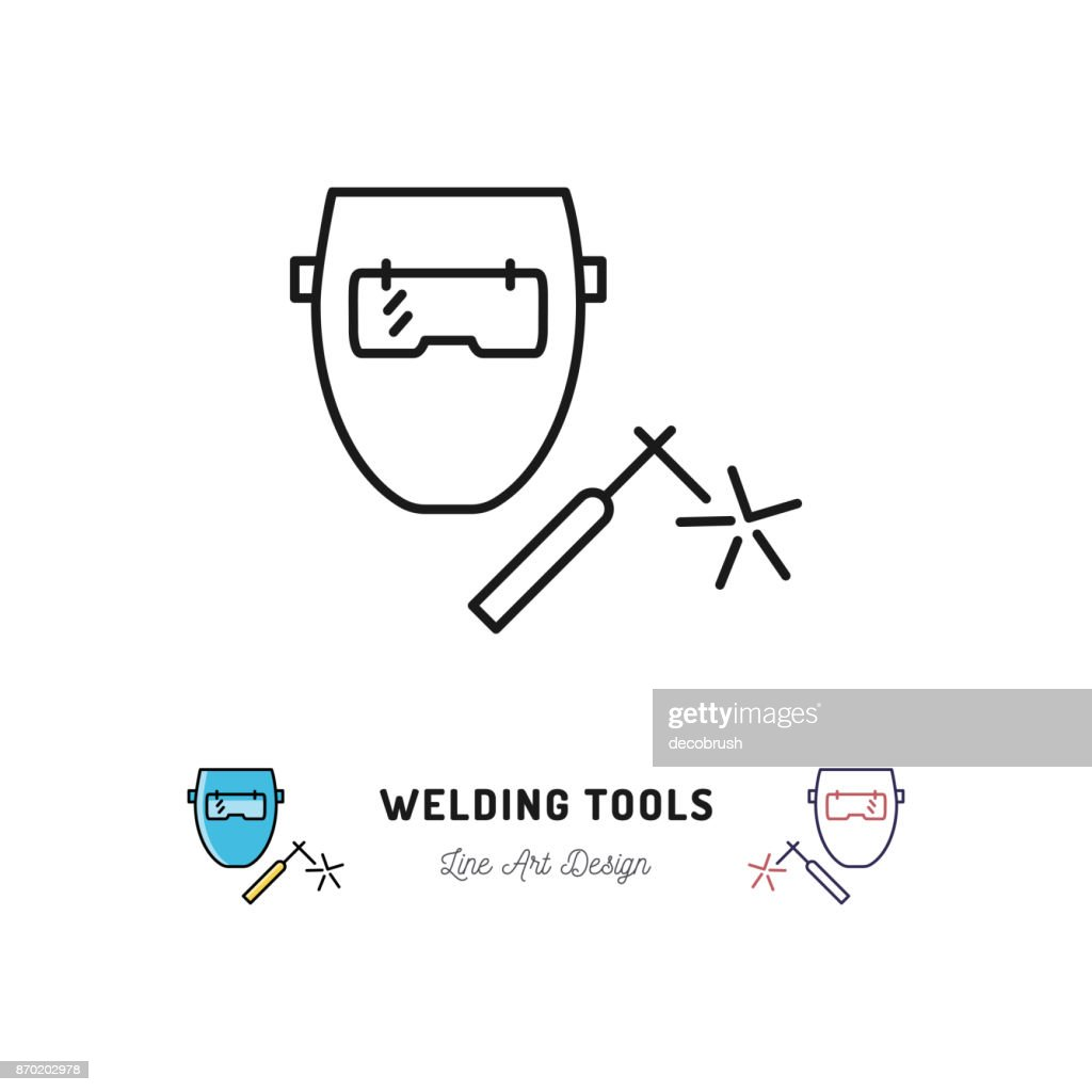Welding Tools Diagram Schematics For Icon Machine And Welder Mask Vector Thin Line Laser Diagrams