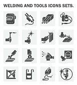 Welding and tools icons sets.