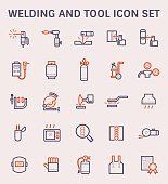 Welding work and tool icon set, color and outline.