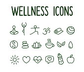 Set of hand drawn yoga and wellness line icons.