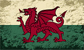 Welsh flag Grunge background. Vector illustration Eps 8.