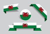 Welsh flag stickers and labels set. Vector illustration.