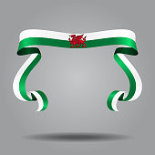 Welsh wavy flag abstract background. Vector illustration.