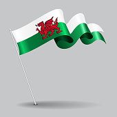Welsh pin icon wavy flag. Vector illustration.