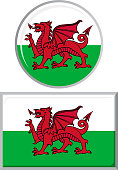 Welsh round and square icon flag. Vector illustration Eps 8.
