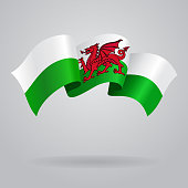 Welsh waving Flag. Vector illustration Eps 8.