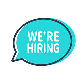 We're Hiring. Speech bubble on white background
