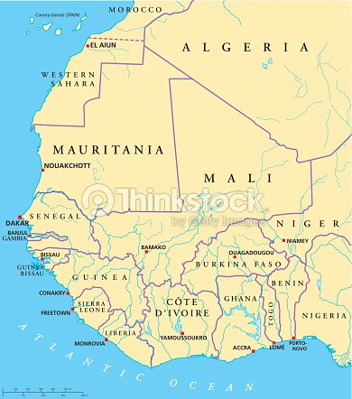 West Africa Political Map stock vector - Thinkstock on