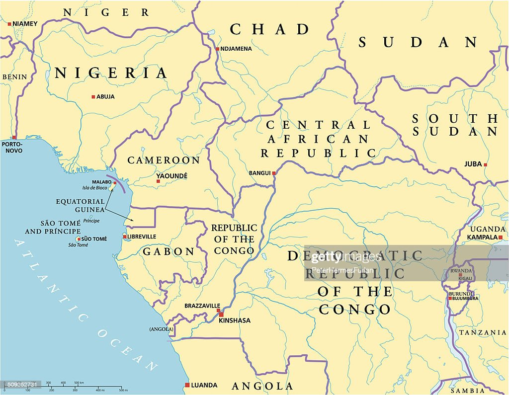 West Central Africa Political Map Vector Art Thinkstock