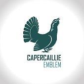Western capercaillie, wood grouse, male bird - vector  emblem