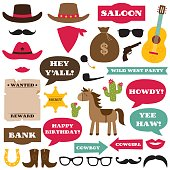 Western cowboy party photo booth props and decoration, vector set