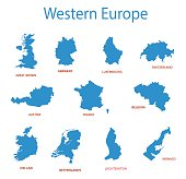 western europe - vector maps of territories