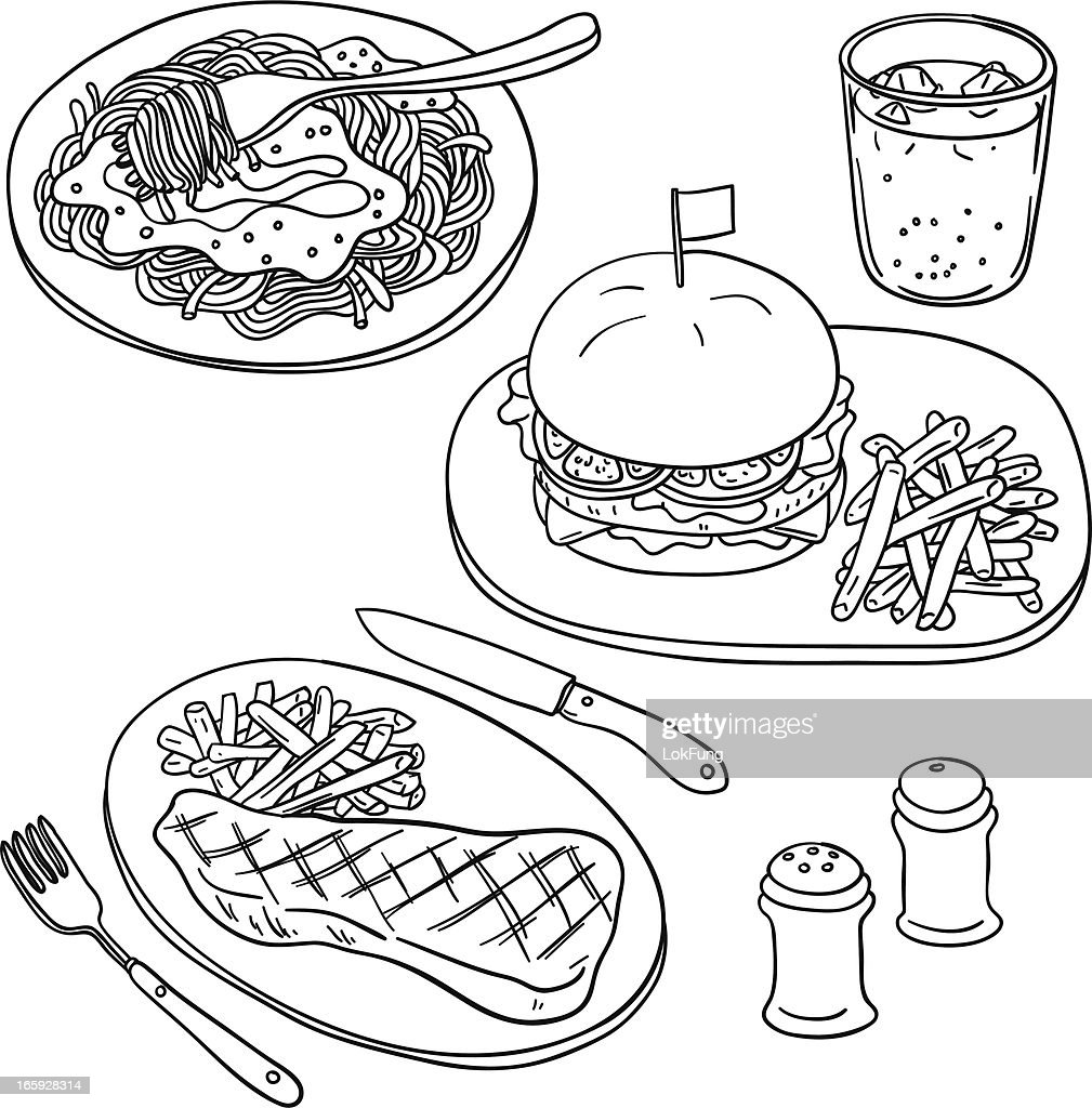 Western Food In Black And White Vector Art | Getty Images