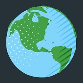 Western hemisphere on globe with USA placing on planet Earth in comic style
