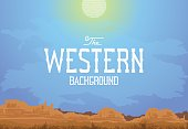 The landscape in the style of vintage Western movie. Vector illustration