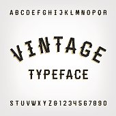 Western style retro distressed alphabet vector font. Letters and numbers. Vintage vector typography for labels, headlines, posters etc.