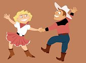 Cartoon couple dancing western swing, EPS 8 vector illustration
