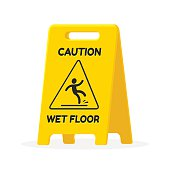 Wet floor sign. Isolated fat vector illustration.