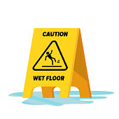 Wet Floor Vector. Classic Yellow Caution Warning Wet Floor Sign. Isolated