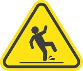 Wet floor warning vector sign isolated on white background. Yellow triangle with falling man in modern flat style. EPS 10.