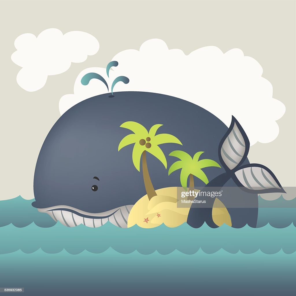 Whale and island in blue sea : Vector Art