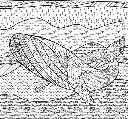 Avistamiento De Ballenas En Las Olas Para Anti Estrés Para Colorear