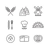 Line art flat design of set icons for wheat factory or bakery with items of bread processing.