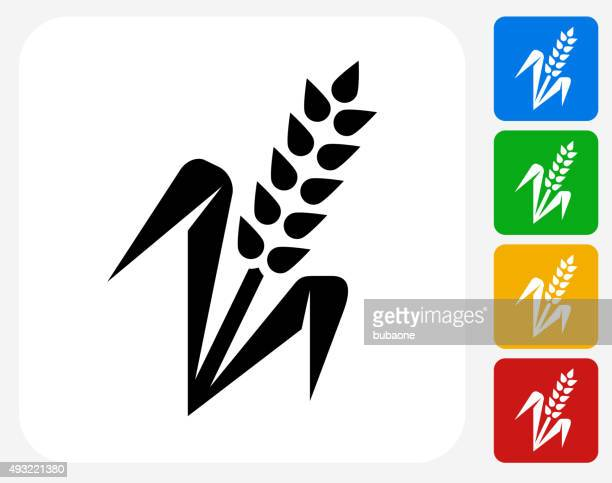 Wheat Plant Icon Flat Graphic Design