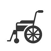 wheel chair, healthcare and medical related solid icon