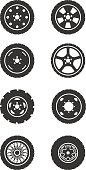 Set of eight grey icons for wheel theme isolated on white background