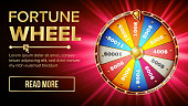 Fortune Wheel Design Vector. Casino Game Of Chance. Luck Sign. Lottery Design Brochure. Glowing Illustration