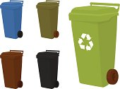 Wheelie bins in 5 shades.